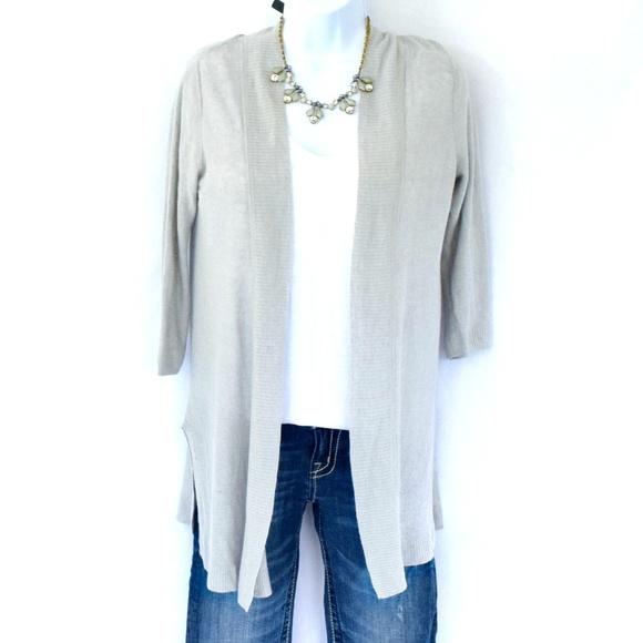 e3c32a58ab0 Tahari Sweaters - TAHARI 3 4 Sleeve Summer Linen Blend Open Cardi